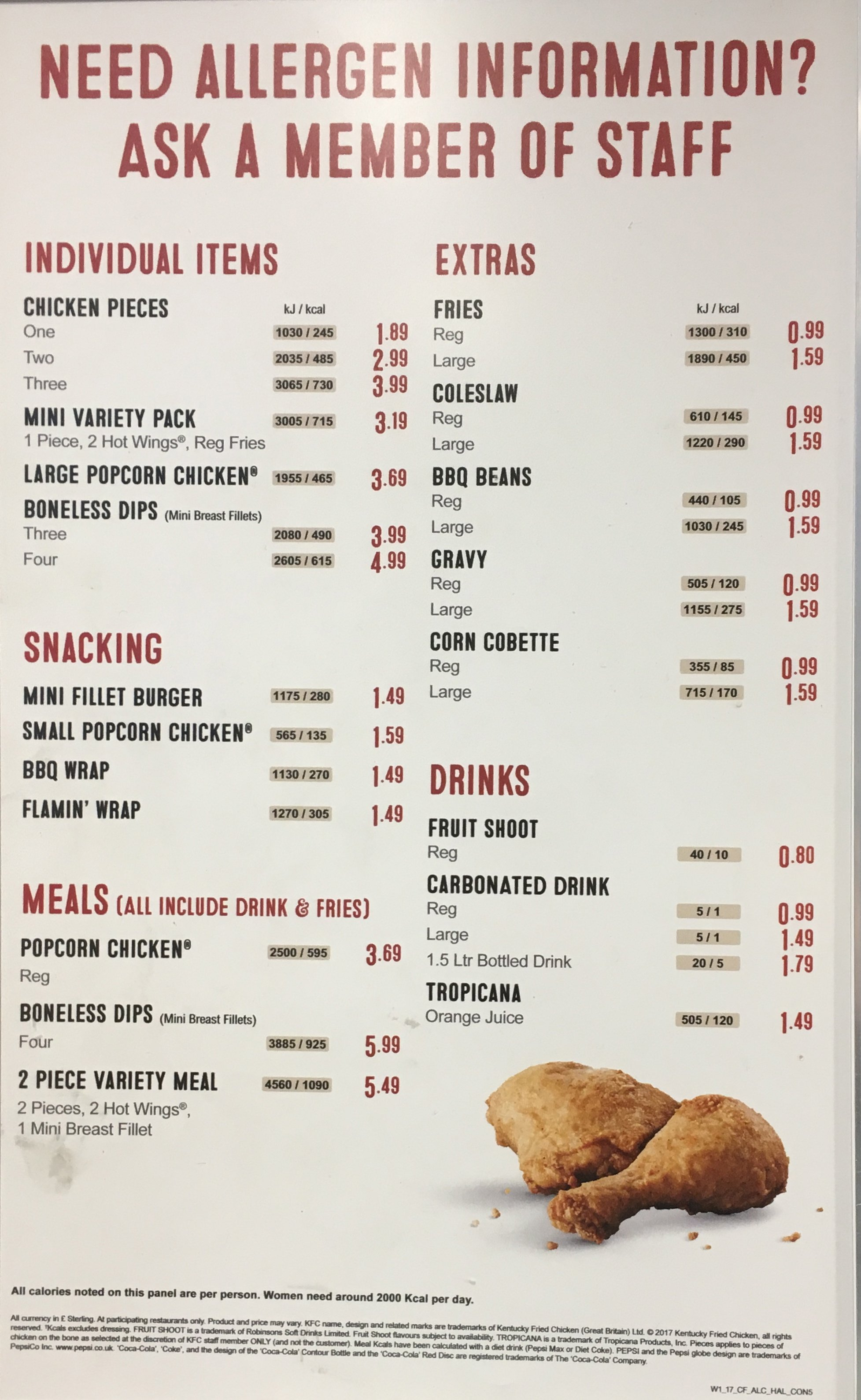 Kfc food calories chart yarta. Innovations2019. Org.