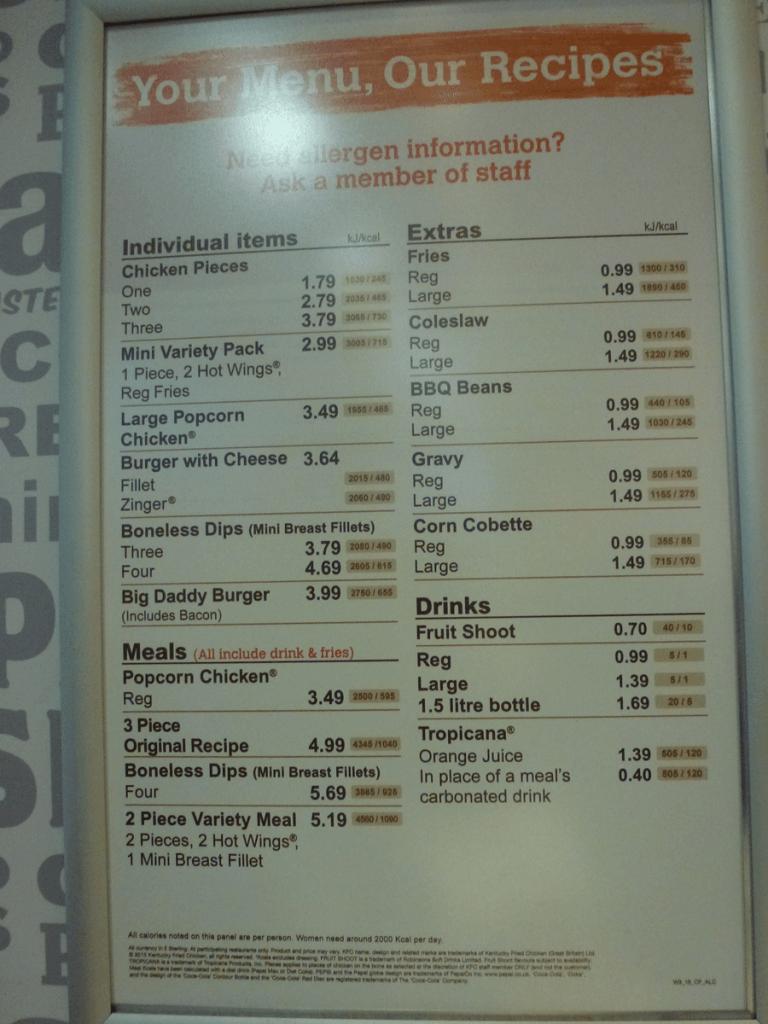 Kfc Menu 2015 Fast Food Menu Prices Uk