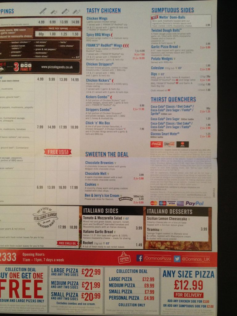 Dominos Menu Prices Uk Price List Updated January 2020