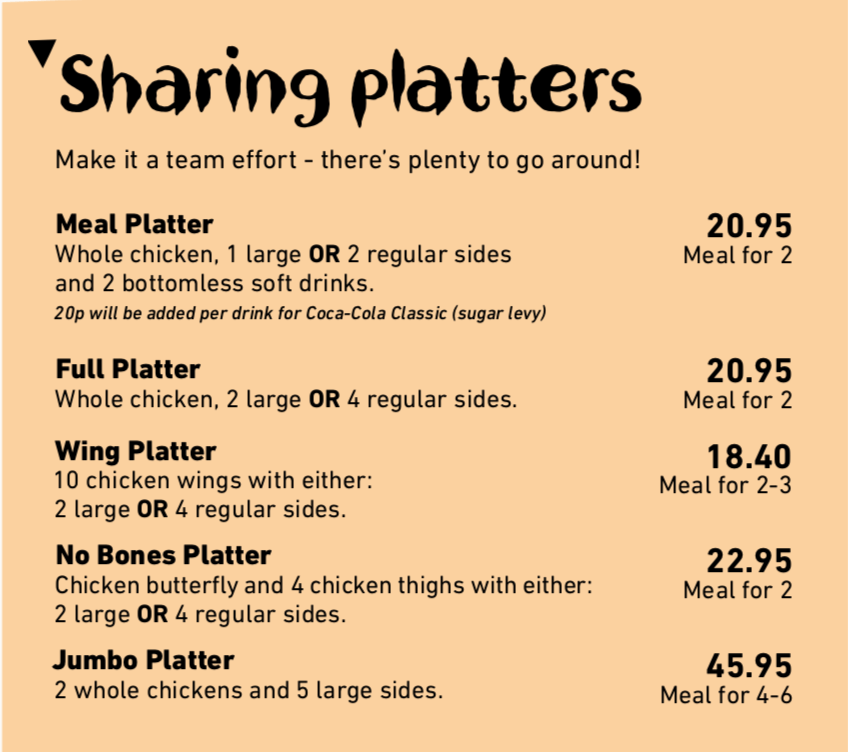 Nandos Menu Prices Uk Updated January 2020