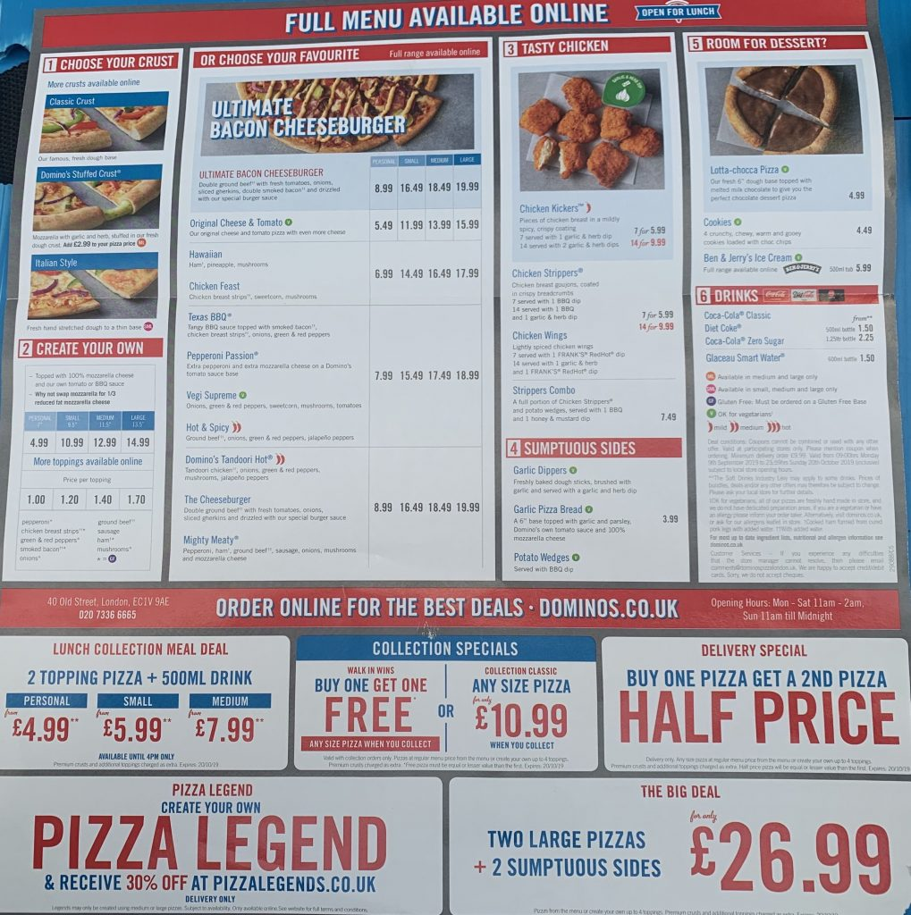 2019 Domino's UK Menu