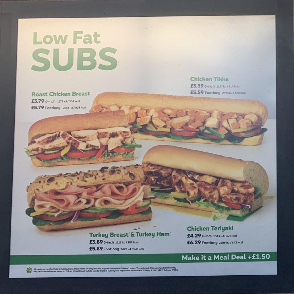 Subway Menu Prices Uk Updated January 2020