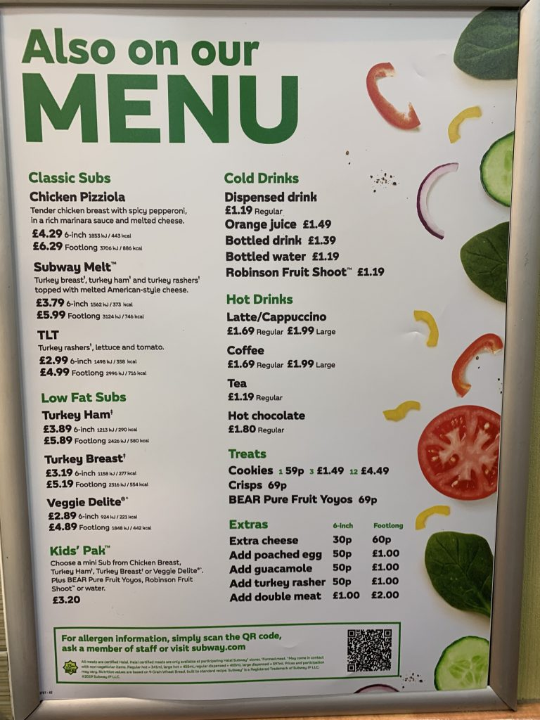 Subway Menu Prices Uk Updated January 2020